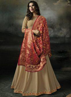 Charming Beige Georgette Designer Anarkali Salwar Kameez