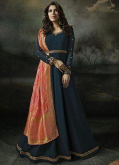 Beautiful Blue Georgette Designer Anarkali Salwar Kameez