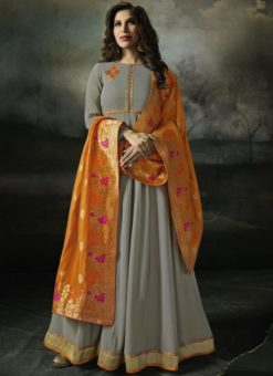 Pretty Grey Georgette Designer Anarkali Salwar Kameez