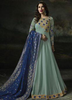 Fetching Aqua Blue Georgette Designer Anarkali Salwar Kameez