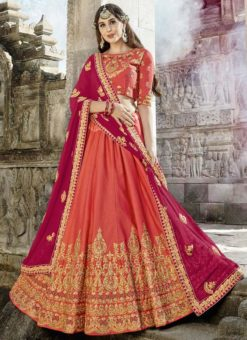 Pleasing Orange Silk Designer Embroidered Work Lehenga Choli