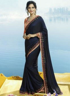 Awesome Navy Blue Silk Designer Party Wear Saree