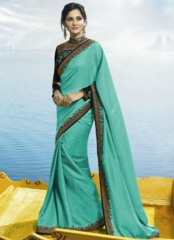 Attractive Turquoise Blue Silk Designer Party Wear Saree