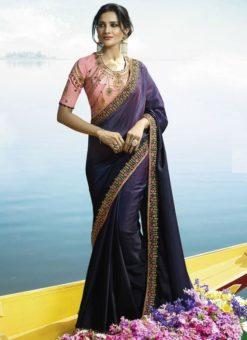 Beautiful Purple Silk Designer Party Wear Saree