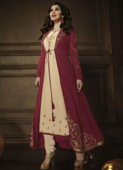 Resplendent Cream Georgette Designer Jacket Anarkali Salwar Kameez