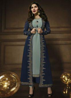 Amazing Blue Georgette Designer Embroidered Work Jacket Anarkali Salwar Kameez