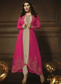 Elegant Beige Georgette Embroidered Work Designer Jacket Anarkali Salwar Kameez
