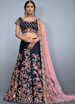 Beautiful Navy Blue Silk Embroidered Work Designer Lehenga Choli