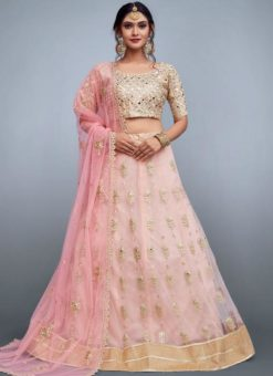 Attractive Pink Net Embroidered Work Designer Lehenga Choli