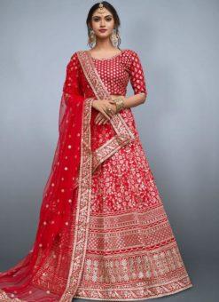 Lovely Red Silk Embroidered Work Designer Lehenga Choli