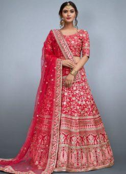 Charming Pink Silk Embroidered Work Designer Lehenga Choli