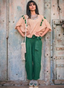 Beige And Green Khadi Cotton Western Top