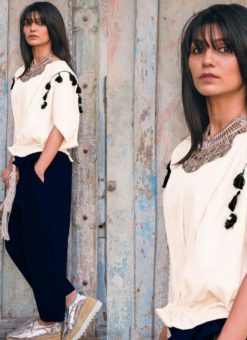 Off White And Navy Blue Khadi Cotton Designer Western Top