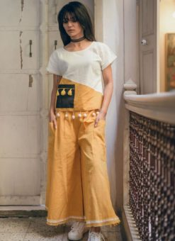 Lovely White And Yellow Khadi Cotton Designer Western Top