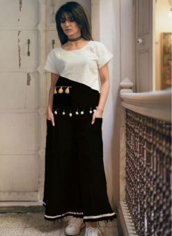 Elegant White And Black Khadi Cotton Designer Western Top