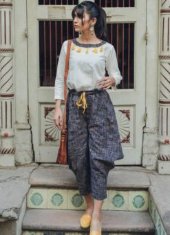White And Navy Blue Botton Khadi Cotton Designer Western Top