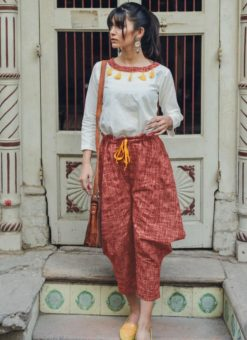 White And Rust Botton Khadi Cotton Designer Western Top