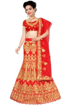 Attractive Red Silk Embroidered Work Wedding Lehenga Choli