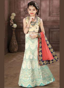 Deluxe Off White Jacquard Silk Zari Print Designer Lehenga Choli