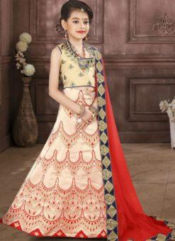 Blisful Off White Jacquard Silk Zari Print Designer Lehenga Choli