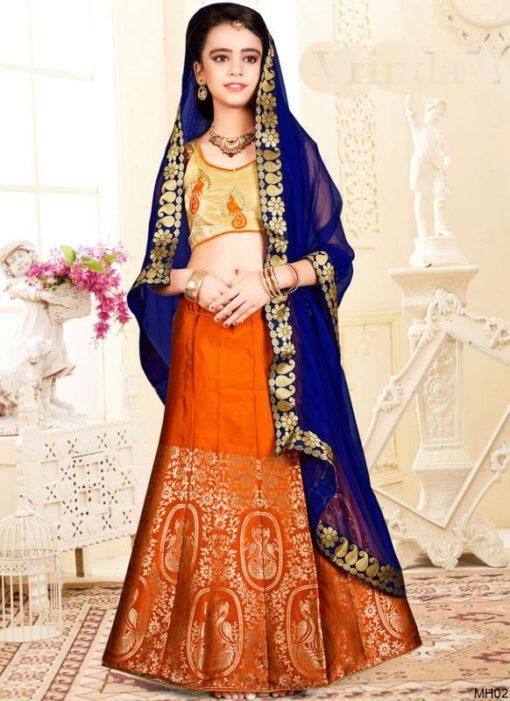 Luxurious Orange Jacquard Silk Zari Print Designer Lehenga Choli