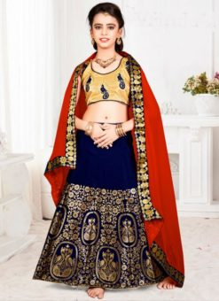 Magnificent Navy Blue Jacquard Silk Zari Print Designer Lehenga Choli
