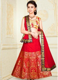 Elegant Red Jacquard Silk Zari Print Designer Lehenga Choli