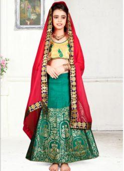 Superb Green Jacquard Silk Zari Print Designer Lehenga Choli