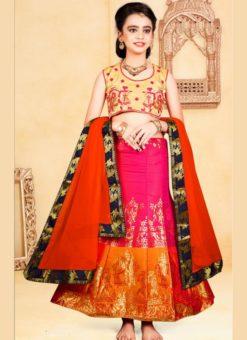Multicolor Jacquard Silk Zari Print Designer Lehenga Choli