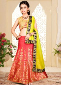 Wonderful Orange Jacquard Silk Zari Print Designer Lehenga Choli