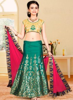 Glorious Green Jacquard Silk Zari Print Designer Lehenga Choli