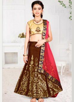 Gorgeous Maroon Jacquard Silk Zari Print Designer Lehenga Choli