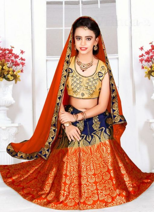 Beautiful Blue And Orange Jacquard Silk Zari Print Designer Lehenga Choli