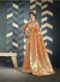 Latest Orange Indian Women's Organza Silk Saree