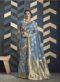 Latest Sky Blue Indian Women's Organza Silk Saree