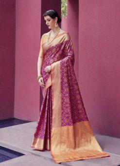 Latest Indian Women's  Purple Patola Silk Saree