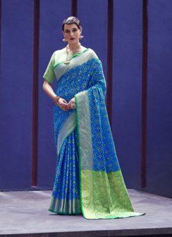 Latest Indian Women's  Sky Blue Patola Silk Saree