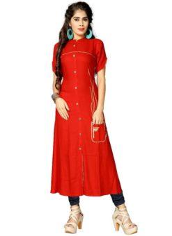 Beautiful Red Rayon Cotton Party Wear Kurti