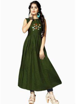 Alluring Green Rayon Cotton Party Wear Kurti