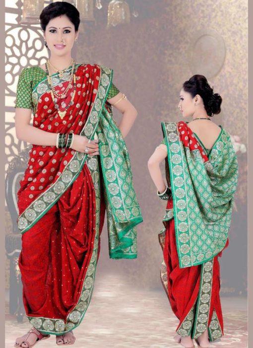 Attractive Red Cotton Silk Zari Print Maharashtrian Nauvari Readymade Saree