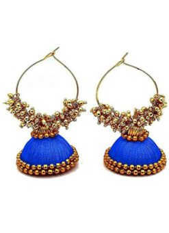 Amazing Blue Thread And Moti Work Traditional Handmade Earings