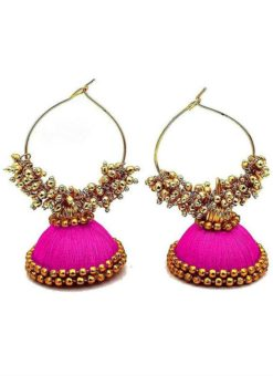 Elegant Pink Thread And Moti Work Traditional Handmade Earings