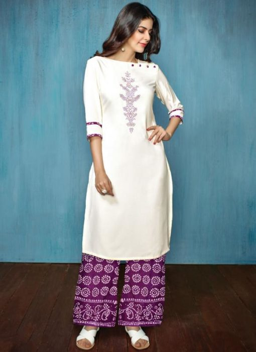 Off White And Purple Rayon Cotton Printed Casual Wear Salwar Kameez