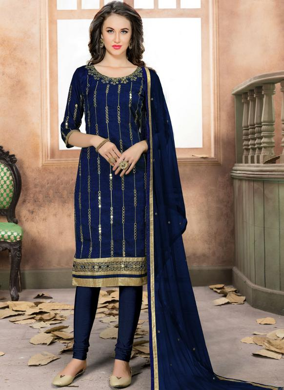 e59049784c Beautiful Navy Blue Art Silk Embroidered Work Designer Straight Salwar  Kameez