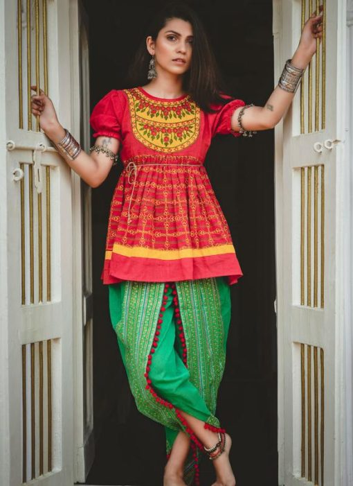Stupendous Red Khadi Embroidered Work Traditional Kediya Suit