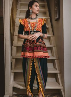 Lovable Black Khadi Embroidered Work Traditional Kediya Suit