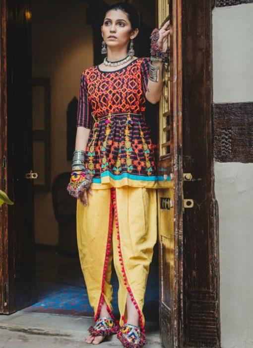 Multicolor Khadi Embroidered Work Traditional Kediya Suit