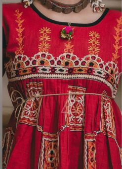 Winsome Red Khadi Embroidered Work Traditional Kediya Suit