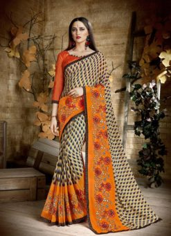 Palak Treditional Orange Party Wear Saree