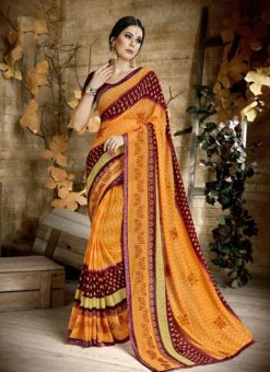 Palak Treditional Yellow  and Brown Party Wear Saree